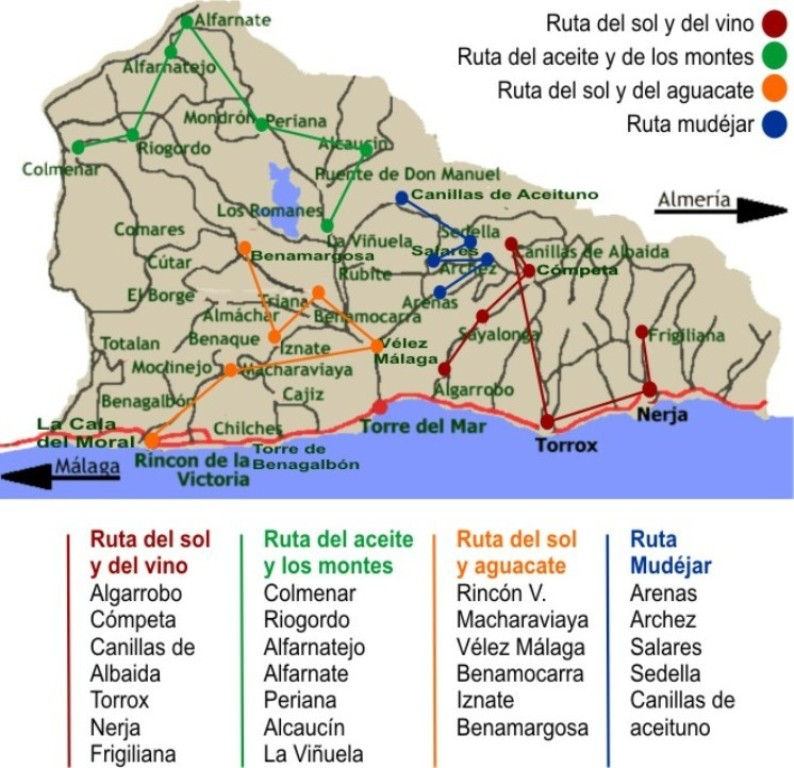 Routes through the Axarquía region of Málaga